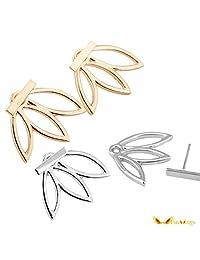 Hollow Out Leaf Flower Stud Earrings Simple Metal Ear Jewelry