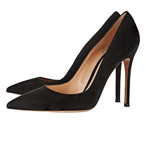 Pointed Court Suede Toe High Shoes Pumps Sandals Slim uBeauty 12cm Heel Heels Womens Office Black Toe Stiletto Work 12cm Closed xRwnwSq