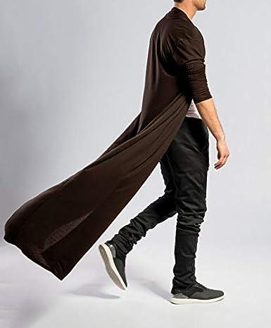 JINIDU Mens Ruffle Shawl Collar Cardigan Lightweight Cotton Blend Long Length Drape Cape