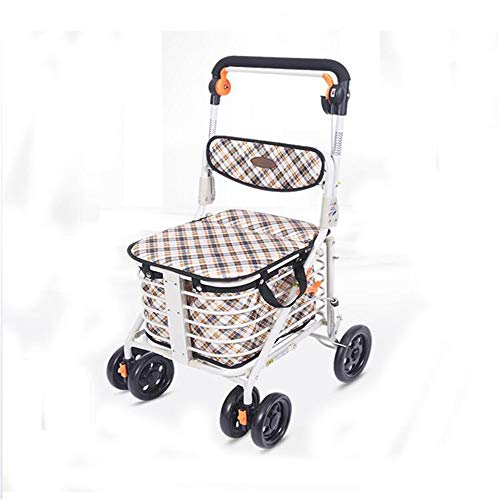 Underseat Basket - Shopping Trolley Lightweight Rollator Folding Portable Wheeled Walker Height Adjustable with Padded Seat Underseat Basket Shopping Cart with 4 Wheels for Elderly Aid