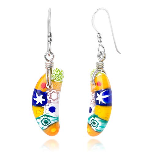 - 925 Sterling Silver Millefiori Murano Glass Multi-Colored Banana Shaped Dangle Earrings 1.7""