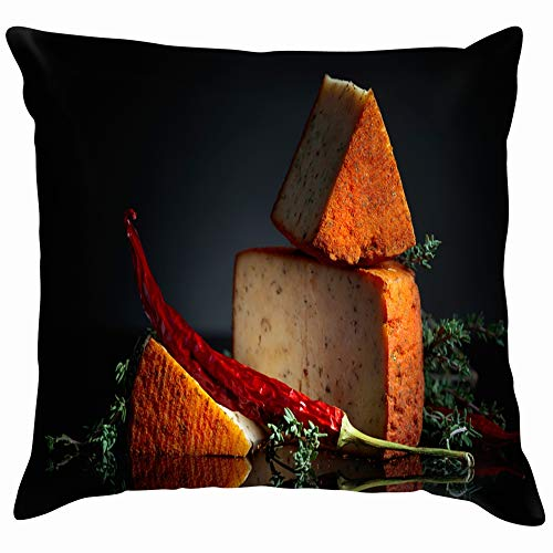 Red Pecorino Sheep Milk Cheese Thyme Food and Drink Appetizer Soft Cotton Linen Cushion Cover Pillowcases Throw Pillow Decor Pillow Case Home Decor 26X26 Inch