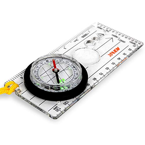 AOFAR Orienteering BoyScout Compass ,Professional Field Compass for Map Reading,Liquid Filled, Adjustable Declination - for Hiking,Navigation and Survival