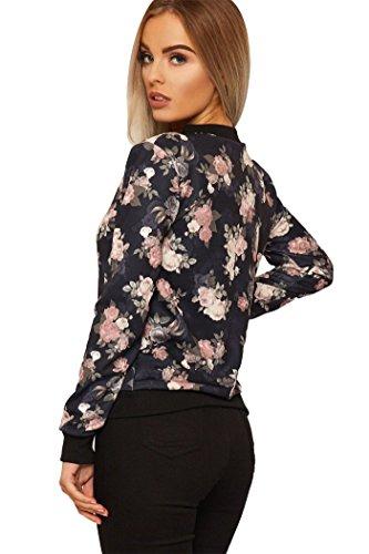 Chaqueta con color de rosa rosas estampado con Negro 8 en para mujer estampado superior y floral 22 estampado cremallera rrx5BCqHw