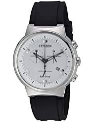 Citizen Mens Eco-Drive Quartz Stainless Steel and Polyurethane Casual Watch, Color:Black (Model: AT2400-05A)