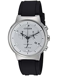 Men's 'Eco-Drive' Quartz Stainless Steel and Polyurethane Casual Watch, Color Black (Model: AT2400-05A)