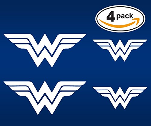 Womens Emblem - White Wonder Woman emblem stickers. 4 PACK of decals (2 + 2). Superhero decal - Two 5.5