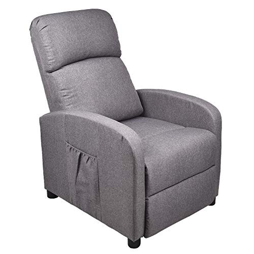 Gaming Massage Recliner Chair - Ergonomic Heated Rocking Sofa Gliders Lounge Chairs Heated w/Control Linen Surface Padded Seat Home Theater Seating for Living Room