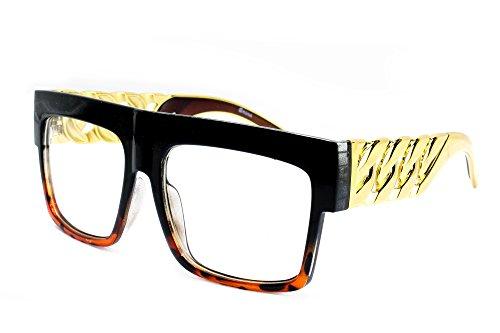 Tortoise Black Hop 335 Fashion DJ Squared 80s Newbee Design Lens Glasses Thick Large 90s Rapper Retro Hip Frame Clear T8xwFqxU