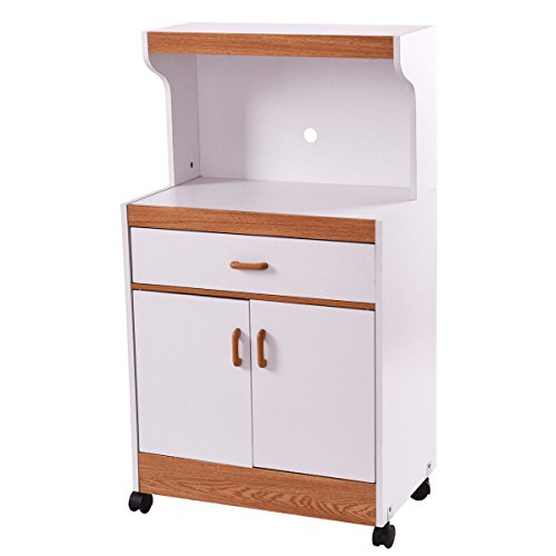 Giantex Microwave Cart Stand with Drawer and Two Doors Flexible Casters Home Kitchen Cabinet Storage Shelves (Main White Oven)