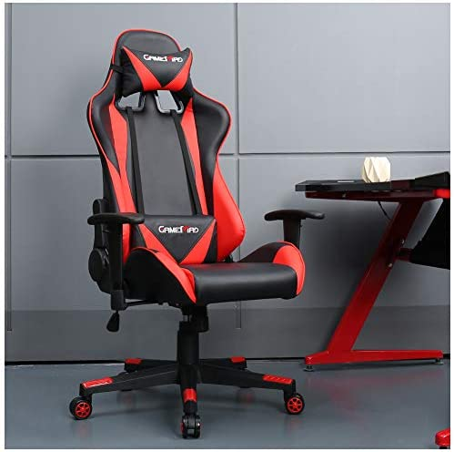 High Back PU Leather Swivel Gaming Chair with Adjustable Armrest Lumbar Support Headrest Video Game Chair Racing Office Chair Red2