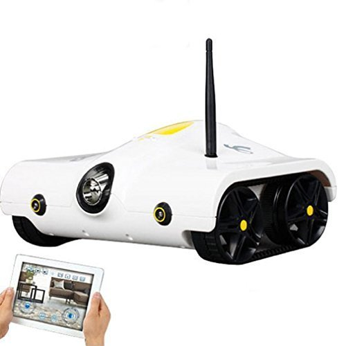 RC Tank with Camera Support Infrared Controlled for Android, iPhone, iPad, iPod Touch (White) ()