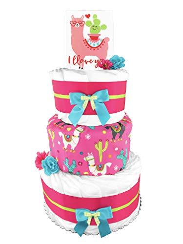 Llama 3-Tier Diaper Cake - Girl Baby Shower Gift - Baby Shower Centerpiece - Pink and Blue ()