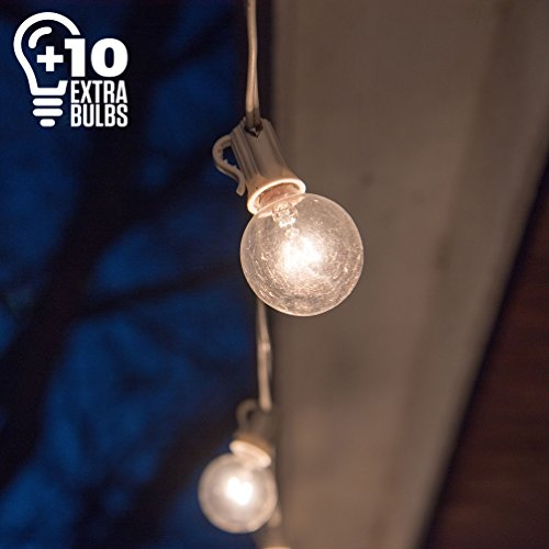 50 Ft White Globe String Lights: 60 G40 Bulbs (10 Extra), Indoor/Outdoor, Waterproof, Connectable, for Backyards, Decks, Patios, Parties, Weddings and More, Warm White Light, Bonus eBook ()