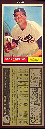 1961 Topps Regular (Baseball) Card# 344 Sandy Koufax of the Los Angeles Dodgers VGX Condition