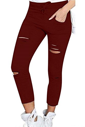 Libero Chic Stile Matita Estivi Coulisse Accogliente Outdoor Slim Waist Strappato Donna Cute Giovane Anteriori Winered Pantaloni Interna Moda Tempo High In Fit Tasche Lunga Pants Modern x6qpxfwUFg