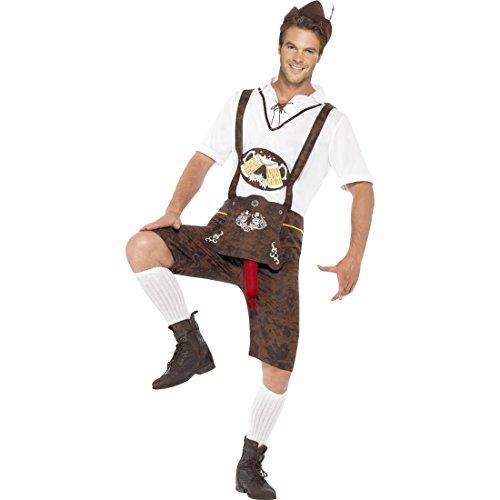 Lederhosen mit Bratwurst Lustiges Oktoberfest Kostüm XL 56/58 Sexy Trachtenkostüm mit heraushängender Wurst Bayrische Lederhose Witziges Bayern Herrenkostüm Trachtenhose Faschingskostüm Karneval Kostüme Herren