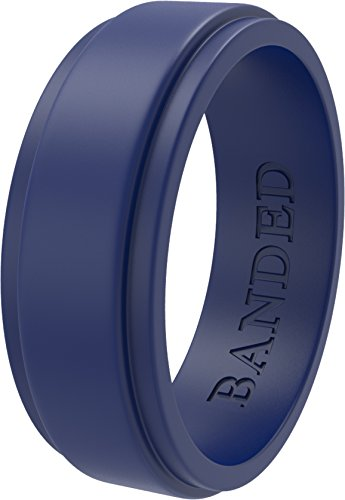 BANDED GLORY Silicone Wedding Ring Rubber Wedding Bands for Men & Women - Skin Safe, Soft, Comfortable - 5.5mm & 8.7mm Wide, Mens, Blue, Step Edge, Size 12