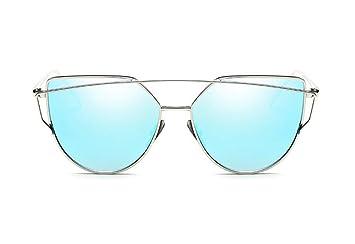 Gafas De Sol Gafas De Espejo Azul Plata Señoras Moda Gafas ...
