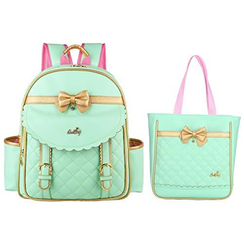 (Gazigo Children Princess Waterproof PU Backpack for Elementary School Girls (Small:14.5 x 11.4 x 5.1 inch, Green Backpack + Handbag) )