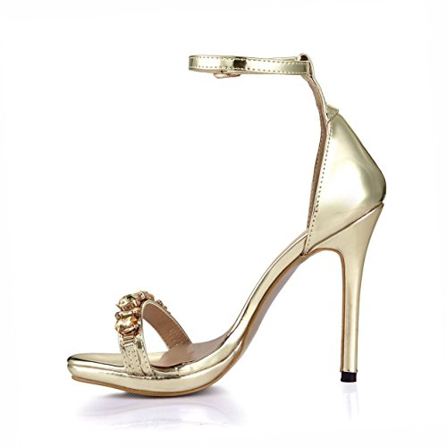 Dolphin Womens Rhinestone Open Toe High Heel Sandals with Ankle Strap SM00006 Golden yzhovQ59