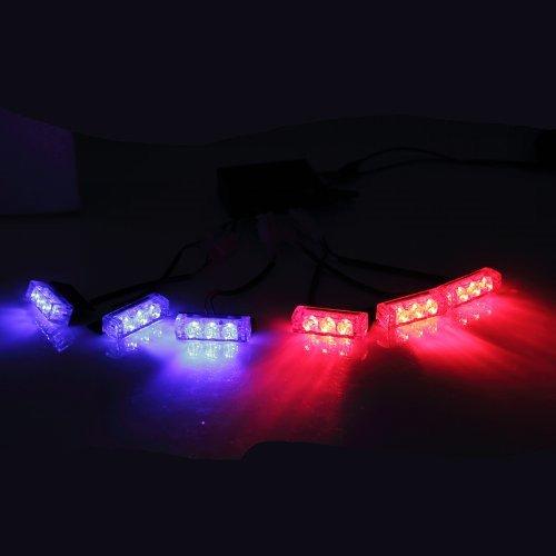 (18 X LED Emergency Vehicle Strobe Lights for Front Grille Deck Warning Light (18 LED, Red and Blue))