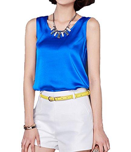 Qunson Women's Comfy Slolid Sleeveless Silky Camisole Tank (Satin Sleeveless Blouse)