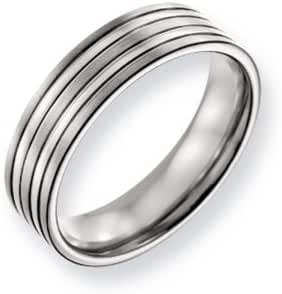 Titanium 6mm Grooved Multi Finished Comfort Fit Band