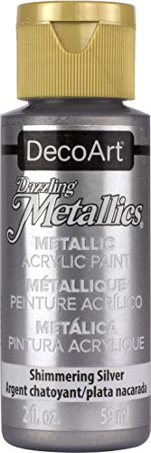 English Sterling Silver Art - DecoArt Dazzling Metallics 2-Ounce Shimmering Silver Acrylic Paint