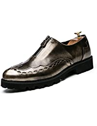 Gobling Mens Fashion Oxfords Dress Shoes, Casual Classic Carve Personality Zipper Retro Patent Leather Brogues