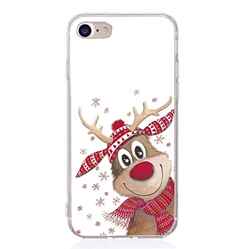 Christmas Phone Case Capinha para iPhone se 6s 6 7 8 x 10 Ten Silicone Reindeer Santa Claus Cover iPhone 8 Plus Bag,Maroon iPhone 6 (Iphone 3gs Nike Case)