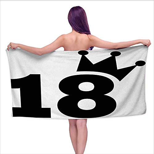 Beach Towel 18th Birthday,Cartoon Soccer Jersey Seem Bold 18 Number Party Sports Playing Art Print,Black and White,W10 xL39 for Youth Girls Cotton Coastal Custom Football Jerseys