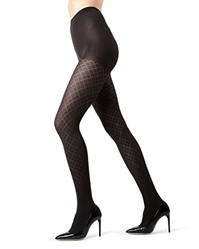 MeMoi Diamond Argyle Tights | Women's Pantyhose - Hosiery Black MO 318 Small/Medium ()