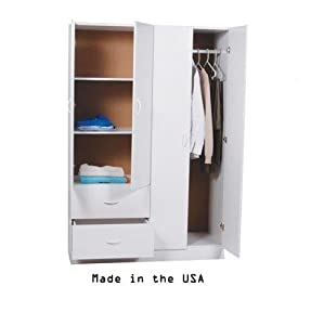 Ready To Assemble 48 Inch 4 Door Wardrobe Closet Bedroom Armoire With Space  For Hanging Drawer And Shelves (White, 20u0027u0027d X 48u0027u0027w X 72u0027u0027h)