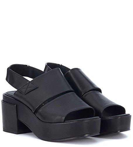 Lemarè Sandalo con Tacco Lemaré In Pelle Nera con doppia fascia Negro