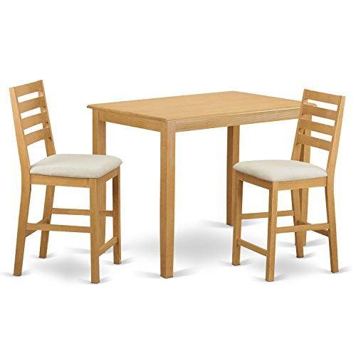 East West Furniture YACF3-OAK-C 3 Piece Counter Height Table and 2 Dinette Chairs Set