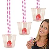 Bachelorette Party 3-Pack Pink Pecker Plastic Beaded Bridal Party Shot Glasses Necklaces - Perfect for Bachelorette, or Girl's Night Out, Party Favors