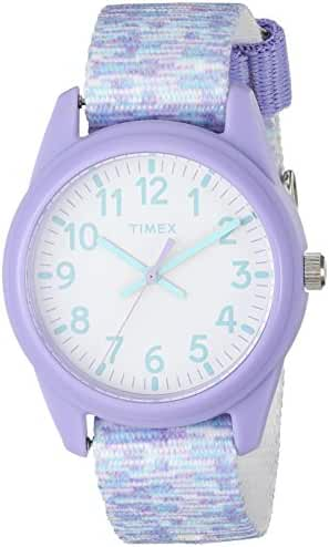 Timex Girls TW7C12200 Time Machines Analog Resin Purple/White Sport Elastic Fabric Strap Watch
