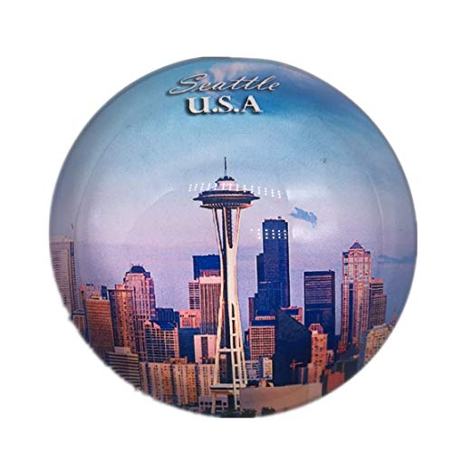 Seattle America USA Refrigerator Fridge Magnet City World Crystal Glass Handmade Tourist Travel Souvenir Collection Strong Word Letter Sticker Kids]()