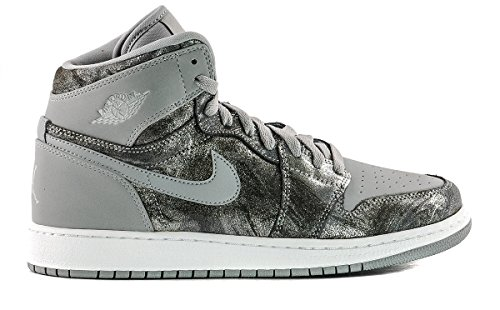 Jordan 1 Retro Hi Prem Big Kids Style, Wolf Grey/Metallic Silver/White, 5