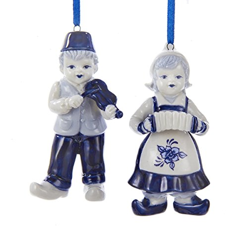 Kurt Adler Porcelain Delft Blue Dutch Boy & Girl Ornaments