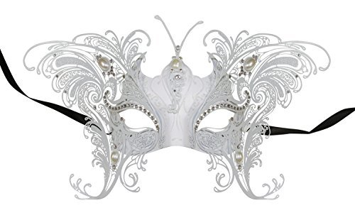 KAYSO INC Lady Caterina Luxury Venetian Metal Laser Cut Masquerade Mask (White)
