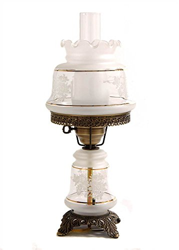 Small Etched White And Gold Night Light Hurricane Table Lamp