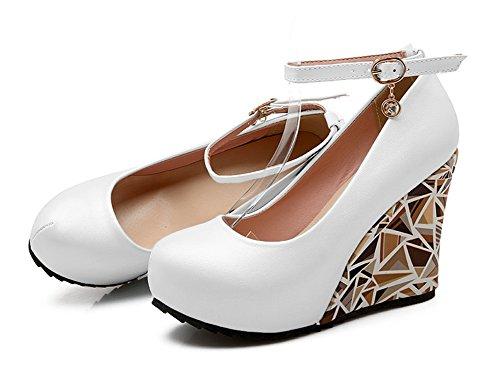Aisun Womens Tondo Abito Con Fibbia Nascosta Piattaforma Tacchi Alti Scarpe Con Zeppa Scarpe Con Cinturino Alla Caviglia Bianco