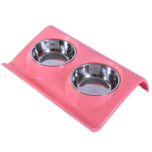 TEESUN Double Dog Bowls Stainless Steel Raised Cat Puppy Food and Water Bowl Dishes for Small Animals Anti-Slip for Indoor Home Pink