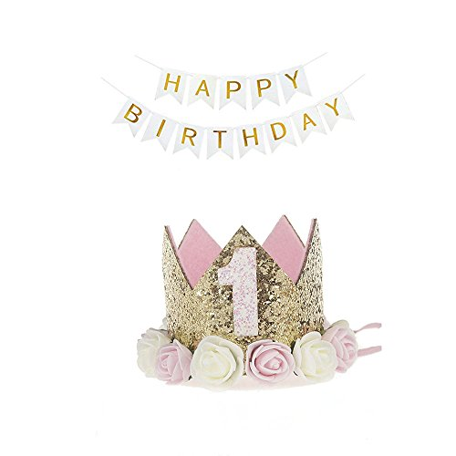 1st Birthday Hat Princess Tiara Crown Baby Girl Headband with a Happy Birthday Banner