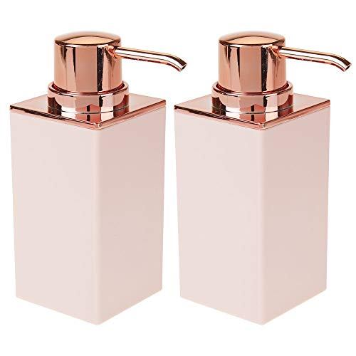 (mDesign Square Plastic Refillable Liquid Soap Dispenser Pump Bottle for Bathroom Vanity Countertop, Kitchen Sink - Holds Hand/Dish Soap, Hand Sanitizer, Essential Oil - 2 Pack - Light Pink/Rose Gold)