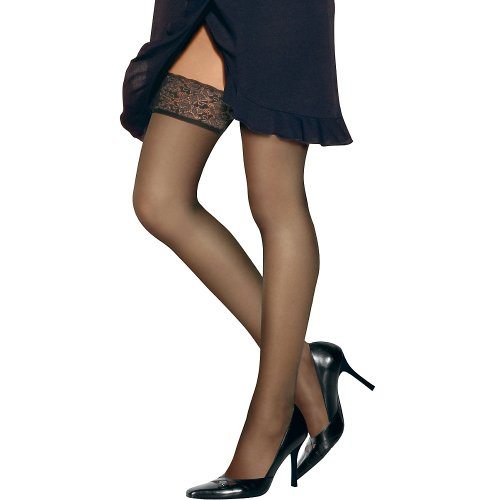 Hanes womens Silk Reflections Lace Top Thigh Highs(0A444)-Barely There-AB-3PK (Lace Thigh High Tights)