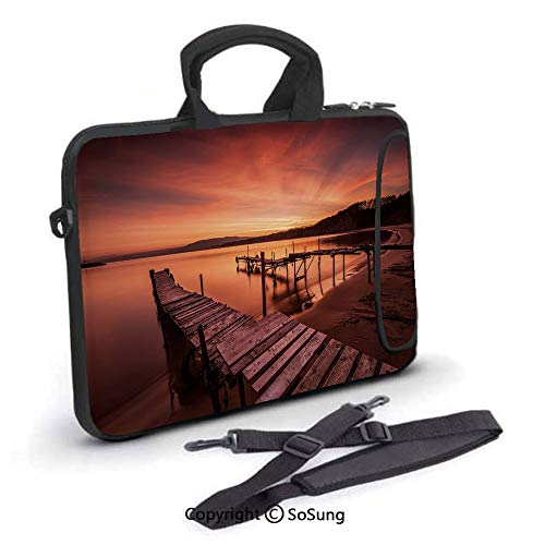 13 inch Laptop Case,Old Rustic Pier on Beach and Romantic Tranquil Sky Pure Twilight Concept Neoprene Laptop Shoulder Bag Sleeve Case with Handle and Carrying & External Side Pocket,for Netbook/MacBoo