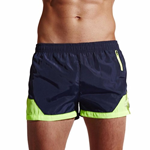 Funic Men's Swimming Trunks Swimming Shorts Elastic Waist Daily Beach Swimwear with Pockets (M, (Suite Pocket)